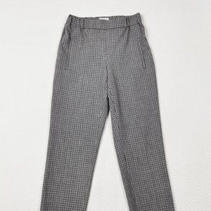Aritzia Wilfred Baby Blue Cropped Plaid Dress Pant